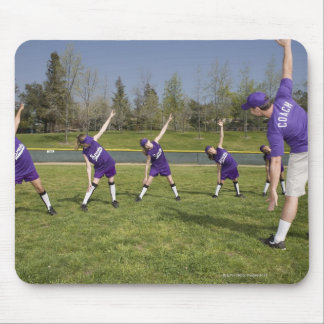 Coach and little league players stretching mouse pad