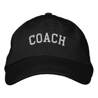 Coach Basic Adjustable Embroidered  Cap Black Embroidered Hats