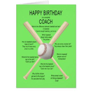 Coach, birthday baseball jokes card