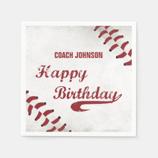 Coach Happy Birthday Large Grunge Baseball, Sport Disposable Serviettes