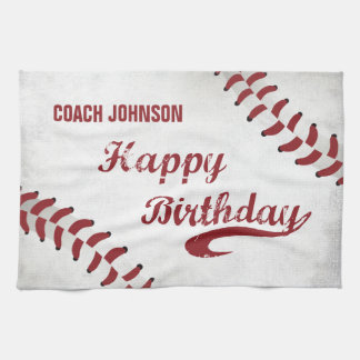Coach Happy Birthday Large Grunge Baseball, Sport Tea Towel