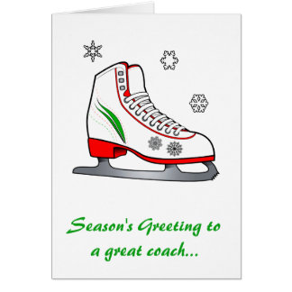 Coach Happy Holidays with Ice Skate Greeting Card