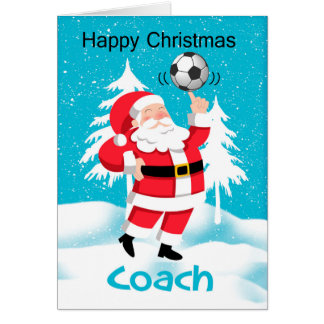 Coach Soccer / Football Christmas Greeting Card
