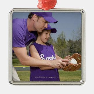 Coach teaching little league player christmas ornament