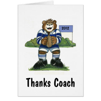 Coach Thank You Card, Rugby Bear in Blue Card