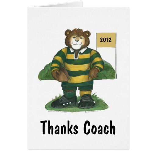 Coach Thank You Card, Rugby Bear in Green and Gold