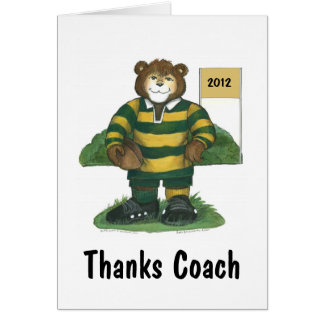 Coach Thank You Card, Rugby Bear in Green and Gold Greeting Card