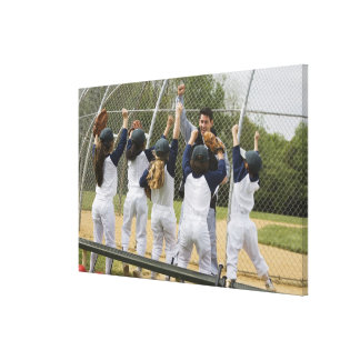 Coach with baseball team canvas print