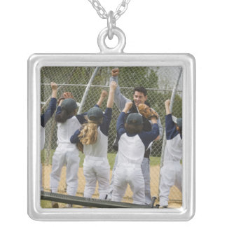 Coach with baseball team silver plated necklace