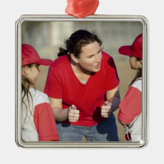 Coach with little league players Silver-Colored square decoration