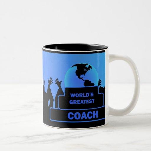 Coach Worlds Greatest Cheers Award Blue Mug