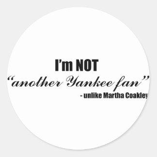 Coakley Yankee Fan Round Sticker