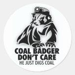 COAL BADGER ROUND STICKER