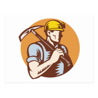 Coal miner at work with pick ax postcard