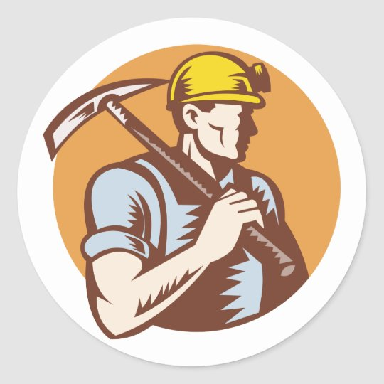 Coal miner at work with pick axe classic round sticker