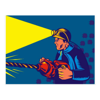 coal miner jack pneumatic drill retro postcard