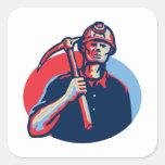 Coal Miner Pick Axe Retro Sticker