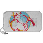 Coal Miner With Pick Axe Looking Up Retro Portable Speakers
