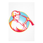 Coal Miner With Pick Axe Looking Up Retro Customised Stationery