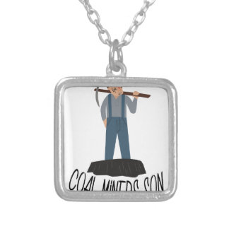 Coal Miners Son Square Pendant Necklace
