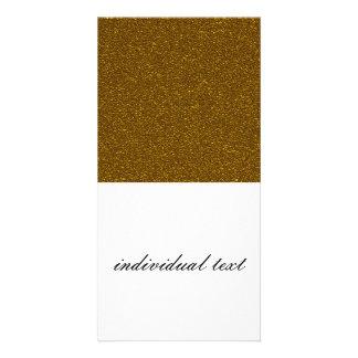 coarse glitter,golden customised photo card