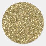 Coarse Golden Glitter Texture Print Round Stickers