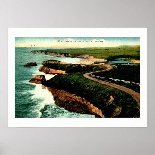 Coast Drive, Santa Cruz, California Vintage Poster