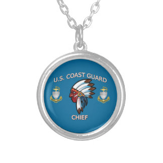 Coast Guard Chief Petty Officer Round Pendant Necklace