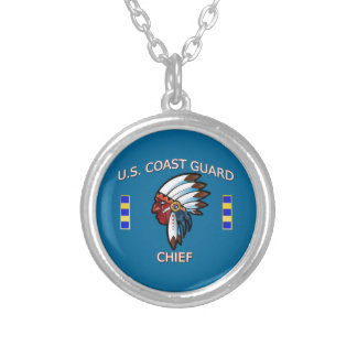 Coast Guard Chief Warrant Officer 2 Round Pendant Necklace