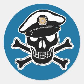Coast Guard Enlisted Scull & Crossbones Round Sticker