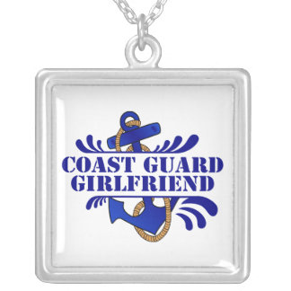 Coast Guard Girlfriend, Anchors Away! Square Pendant Necklace
