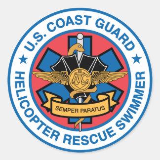 coast guard rescue swimmer classic round sticker
