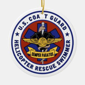 Coast Guard Rescue Swimmer Round Ceramic Decoration