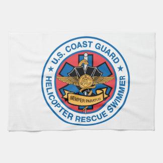coast guard rescue swimmer tea towel