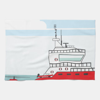 Coast guard ship with helicopter hand towel
