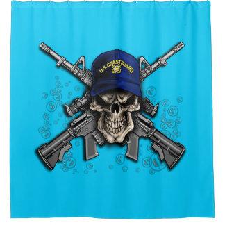 Coast Guard Skull Shower Curtain