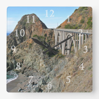 Coast Highway 1 - Big Creek Bridge Square Wall Clock