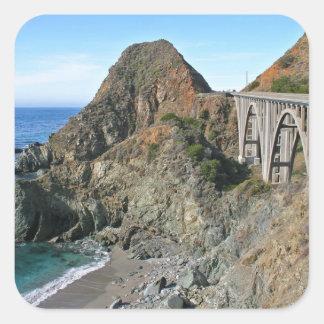 Coast Highway 1 - Big Creek Bridge Square Stickers