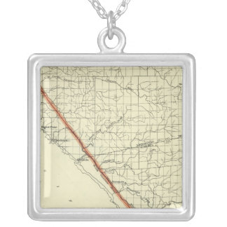 Coast of California showing San Andreas Rift Silver Plated Necklace