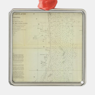 Coast of Delaware, Maryland, pt of Virginia Silver-Colored Square Decoration