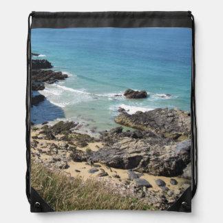 Coast Path nr Padstow, Cornwall Drawstring Bag