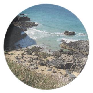Coast Path nr Padstow, Cornwall Melamine Plate
