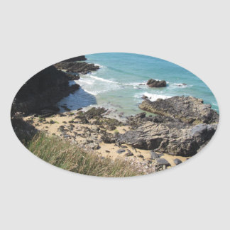 Coast Path nr Padstow, Cornwall Oval Stickers