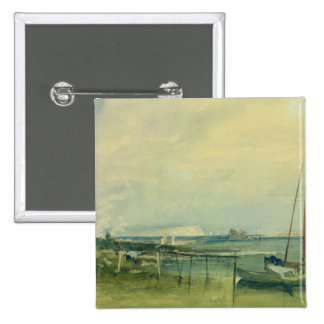 Coast Scene with White Cliffs and Boats on Shore ( 15 Cm Square Badge