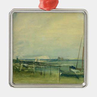 Coast Scene with White Cliffs and Boats on Shore ( Christmas Ornament
