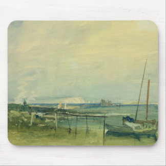 Coast Scene with White Cliffs and Boats on Shore ( Mouse Pad