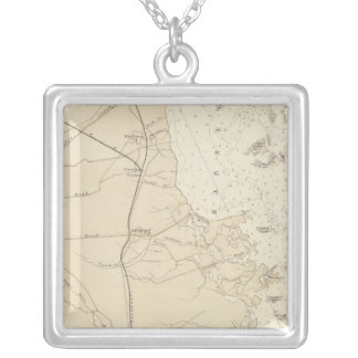 Coast section Barnegat Bay to Tuckerton Chart Map Silver Plated Necklace
