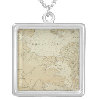 Coast section Tuckerton to Absecon Beach Chart Map Silver Plated Necklace