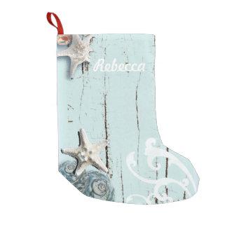 Coastal aqua blue beach wood starfish seashell small christmas stocking