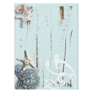Coastal aqua blue beach wood starfish seashell tablecloth